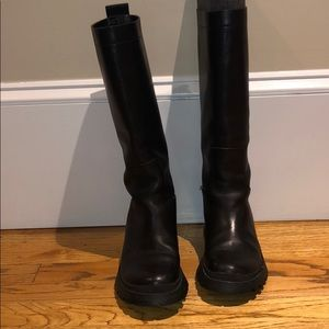 Utilitarian knee high boot